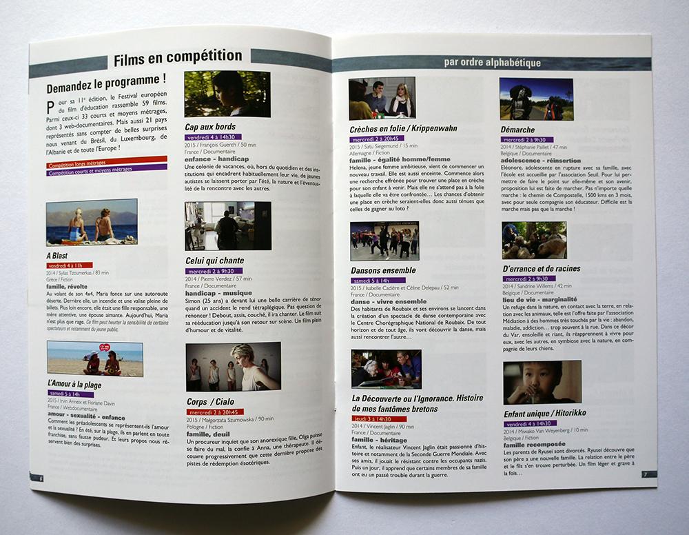 Festival européen du film d'éducation Flyer 2015