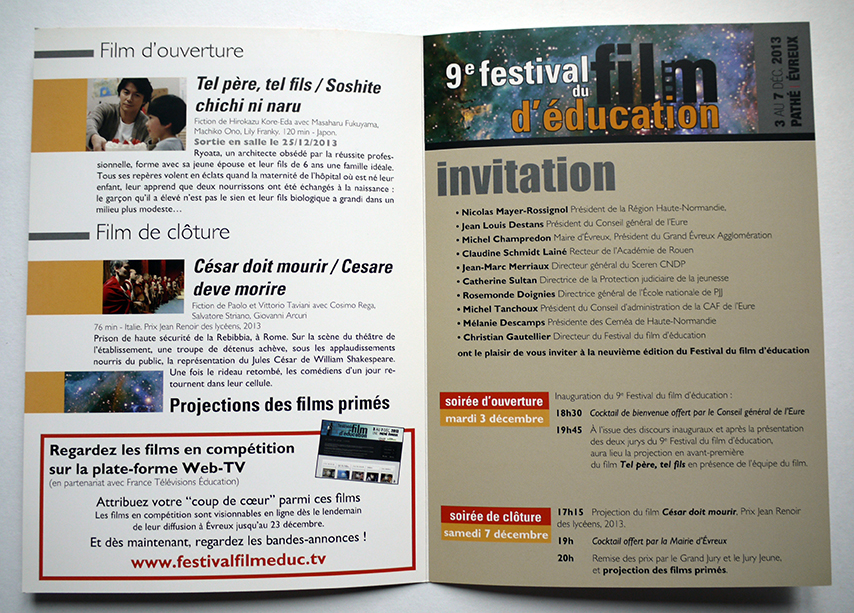 Festival européen du film d'éducation Invitation 2013
